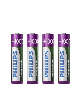 Pilha AAA recarregável Philips 1000mAh - cartela com 4 unidades