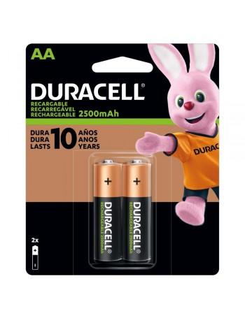 Pilha AA recarregável Duracell 2500mAh - cartela com 2 unidades