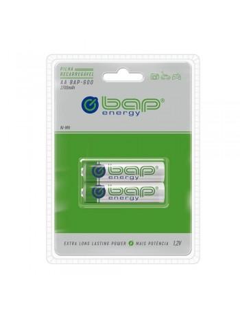 Pilha AA recarregável bap-energy BAP-600 2700mAh 1.2V - cartela com 2 unidades