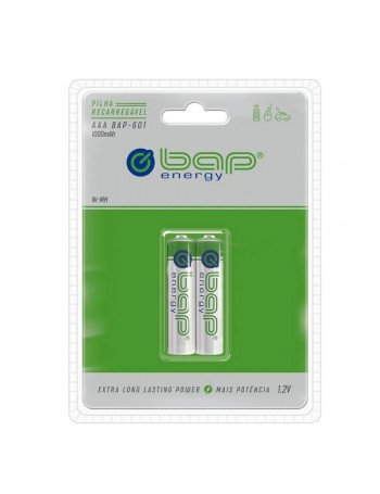 Pilha AAA recarregável bap-energy BAP-601 1000mAh 1.2V - cartela com 2 unidades