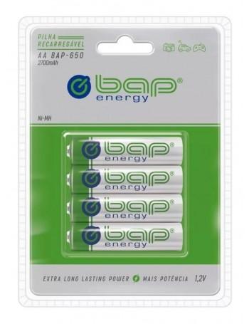 Pilha AA recarregável bap-energy BAP-650 2700mAh 1.2V - cartela com 4 unidades