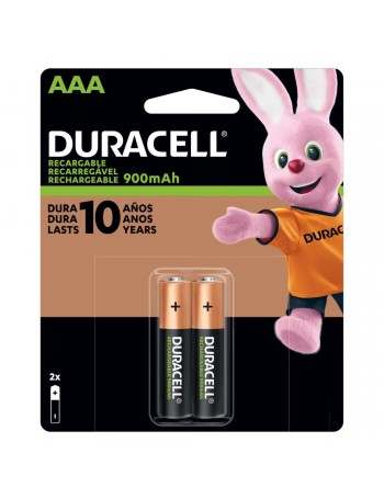 Pilha AAA recarregável Duracell 900mAh - cartela com 2 unidades