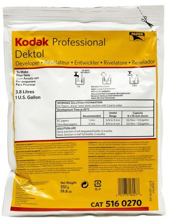 Revelador em pó Kodak Dektol para papel fotográfico preto e branco - 551g (rende 3,8 litros) (VENCIDO EM 08/2020)