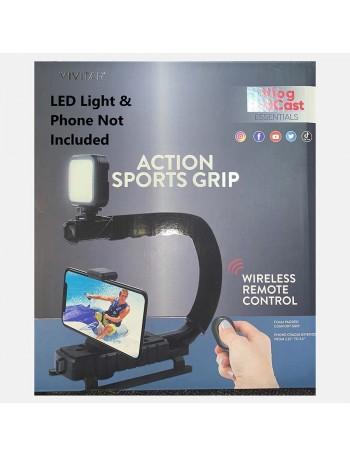 Suporte e estabilizador de mão Vivitar Action Sports Grip VIVVPT200V para DSLR e smartphone com controle remoto