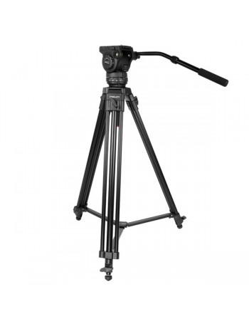 Tripé Kingjoy VT-2100L + VT-3530 com cabeça para vídeo - Suporta até 15 kg