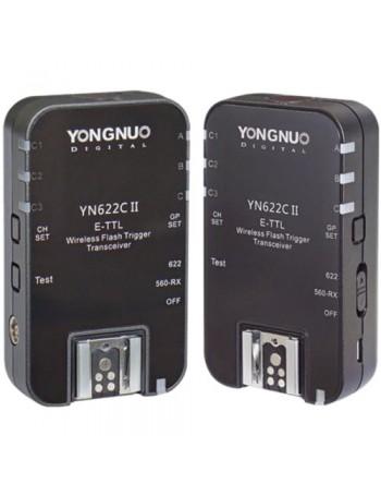 Radio Flash TTL Yongnuo YN-622C II E-TTL para Canon - Kit com 2 transceptores